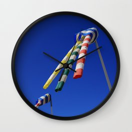 Colorful Flying Wind Flags in Knokke Wall Clock