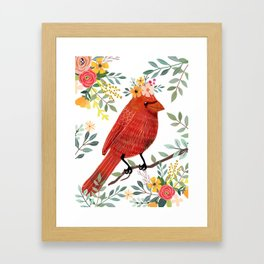 Red Bird with Floral Crown Framed Art Print
