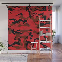 Camo Style - Black Red Camouflage Wall Mural