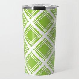 Lime and White Criss-Cross Plaid Pattern Travel Mug