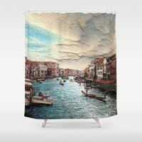 venice Shower Curtains featuring Venice by MehrFarbeimLeben