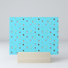 Sad Food by Squibble Design - Repeating Pattern on blue polka dot background Mini Art Print