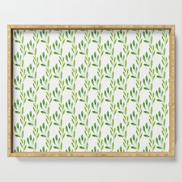 green watercolor vines Serving Tray