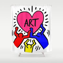 "Keith Haring inspired ""I Love Art"" Primary Colors edition Shower Curtain"