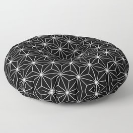 Hemp seed pattern in black-and-white Floor Pillow