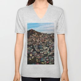 Colored Houses of Shimla, India with Blue Sky Landscape by Jeanpaul Ferro Unisex V-Neck
