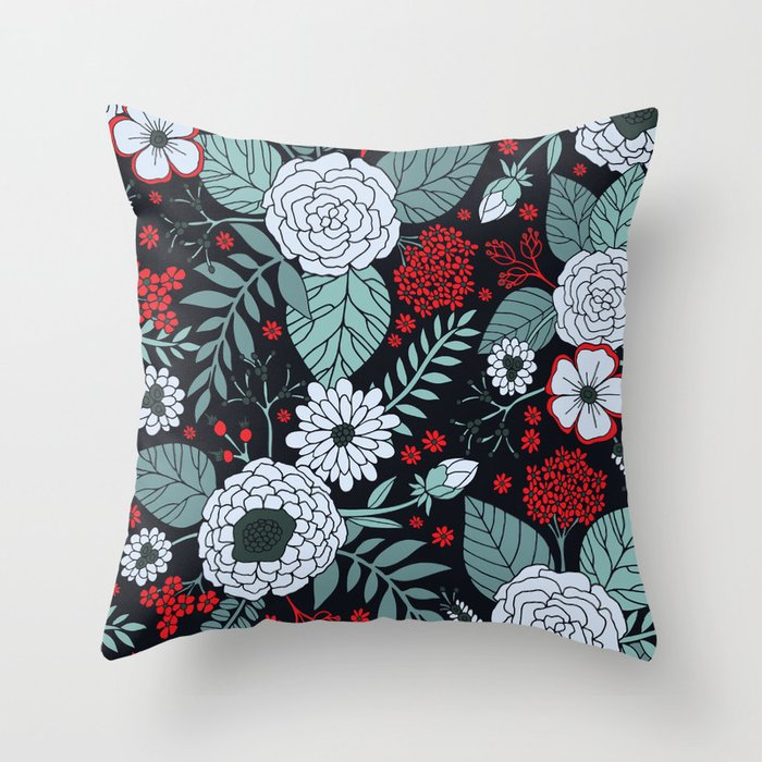 Red, Gray, Aqua & Navy Blue Floral/Botanical Pattern Throw Pillow