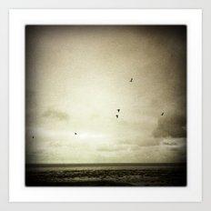 Sepia Gulls Art Print