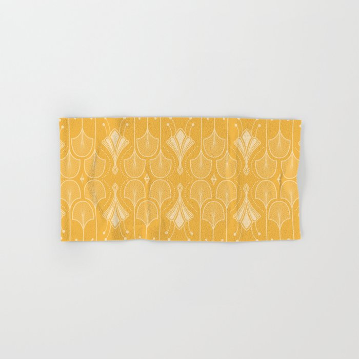 Lily Lake - Retro Floral Pattern Curry Hand & Bath Towel
