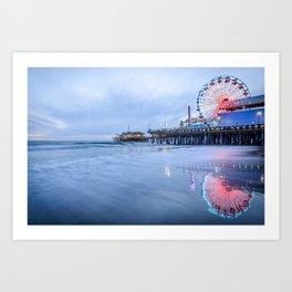 SANTA MONICA PIER SUNSET CALIFORNIA PHOTOGRAPHY Art Print