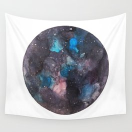 Galaxy round shape with stars Wall Tapestry