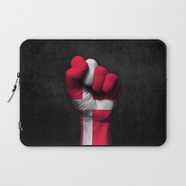 Danish Flag on a Raised Clenched Fist Laptop Sleeve