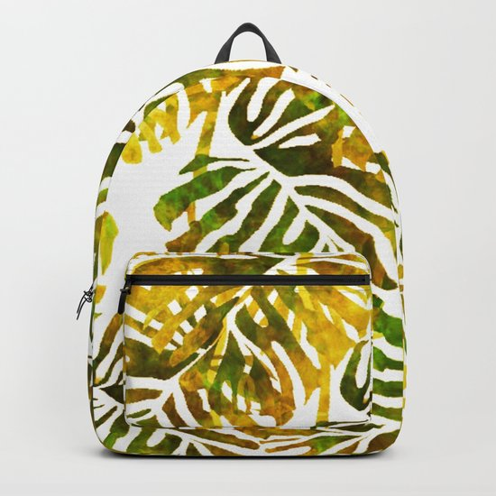 Sunset Tropical Leaves Abstract Backpack