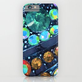 Blue, Green and Gold Jewels Art Design iPhone Case
