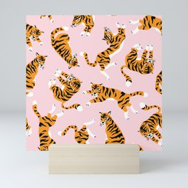 Cute tiger in the tropical forest hand drawn on pink background illustration Mini Art Print
