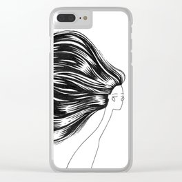 Head of Hair. Black Ink Illustration Clear iPhone Case
