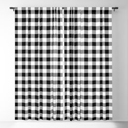 Classic Black & White Gingham Check Pattern Blackout Curtain