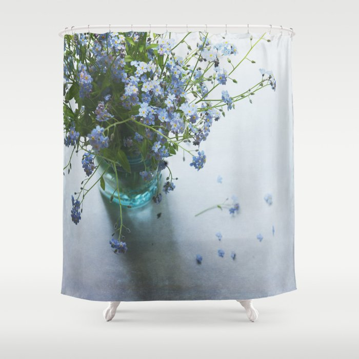 Forget-me-not bouquet in Blue jar Shower Curtain