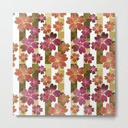 Retro . Floral pattern in yellow and brown tones . Metal Print