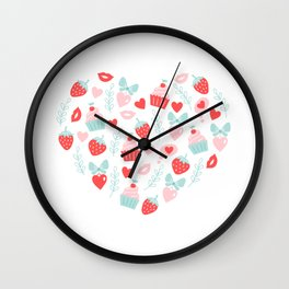 Valentines Day Heart #5 - Cupcakes and Strawberries Wall Clock