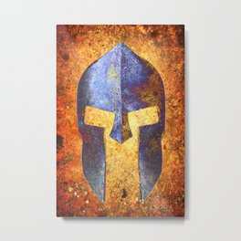 Blue Spartan Helmet On Rust Background - Molon Labe Metal Print