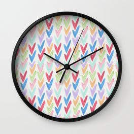 Modern hand painted colorful watercolor abstract chevron Wall Clock