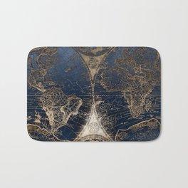 World Map Deep Blue and Gold Bath Mat