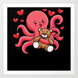 Octopus With Stuffed Animal Art Print