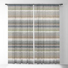 serape southwest stripe - muted natural tones Sheer Curtain