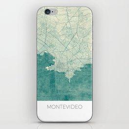 Montevideo Map Blue Vintage iPhone Skin