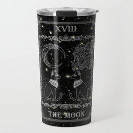 "Tarot ""The Moon"" - silver- cat version Travel Mug"
