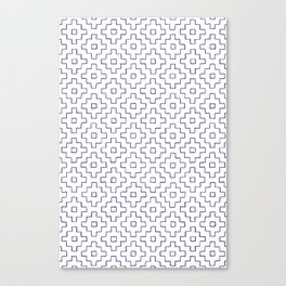 Persimmon Hitomezashi Sashiko - Blue on White Canvas Print
