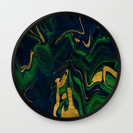Rhapsody in Blue and Green and Gold Wall Clock