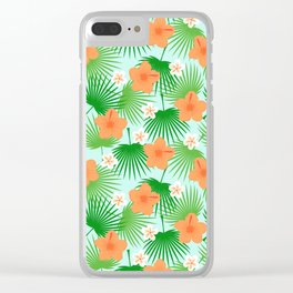 Tropical orange green teal floral palm tree pattern Clear iPhone Case