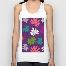 Purple tropical leaves Unisex Tank Top
