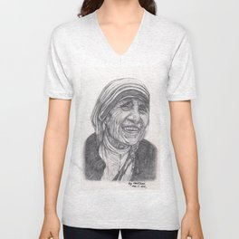 Mother Theresa Drawing Unisex V-Neck