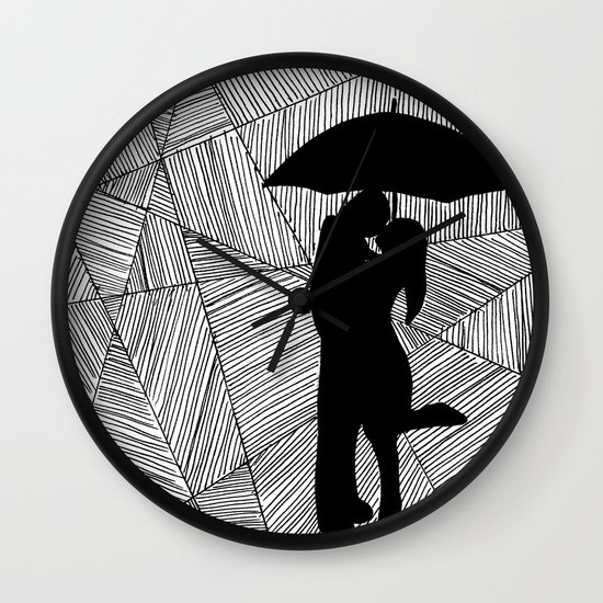 Lovely Man And Lady With Umbrella Silhouette Wall Clock By Kaitlynmichelleartwork  | Society6
