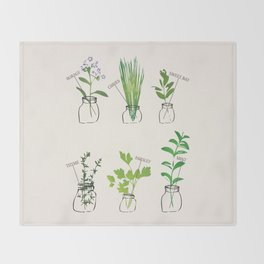 Mason Jar Herbs Throw Blanket