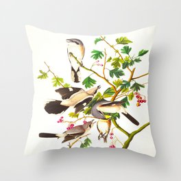 Great cinereous Shrike, or Butcher Bird John James Audubon Birds Vintage Scientific Illustration Throw Pillow