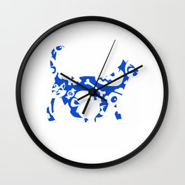 Blue And White Halloween Cat Wall Clock