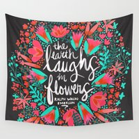 waldo Wall Tapestries featuring The Earth Laughs in Flowers – Pink & Charcoal by Cat Coquillette