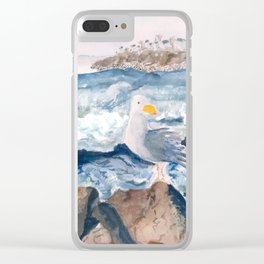 A Watercolor Seagull Named Fred (on Second Cliff in Scituate) Clear iPhone Case