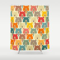 sia Shower Curtains featuring Bears cartoon pattern by Mrs. Opossum