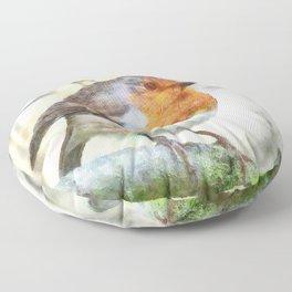 Christmas Robin Redbreast Winter Watercolor Floor Pillow
