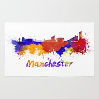 manchester Area & Throw Rugs featuring Manchester skyline in watercolor by Paulrommer