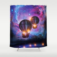 trip Shower Curtains featuring Space trip. by Viviana Gonzalez