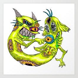 Cat Monster Dog Art Print