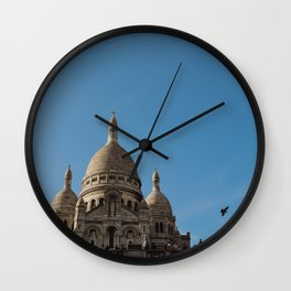 Bird flying by the Sacre Coeur Wall Clock
