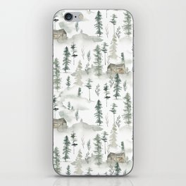 Hand painted brown forest green watercolor wood cabin trees iPhone Skin