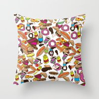 junk food Throw Pillows featuring Cartoon Junk food pattern. by Nick's Emporium Gallery